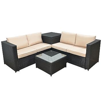 Amazon.de: Jalano Poly Rattan Lounge SM1 Set Gartenmöbel ...