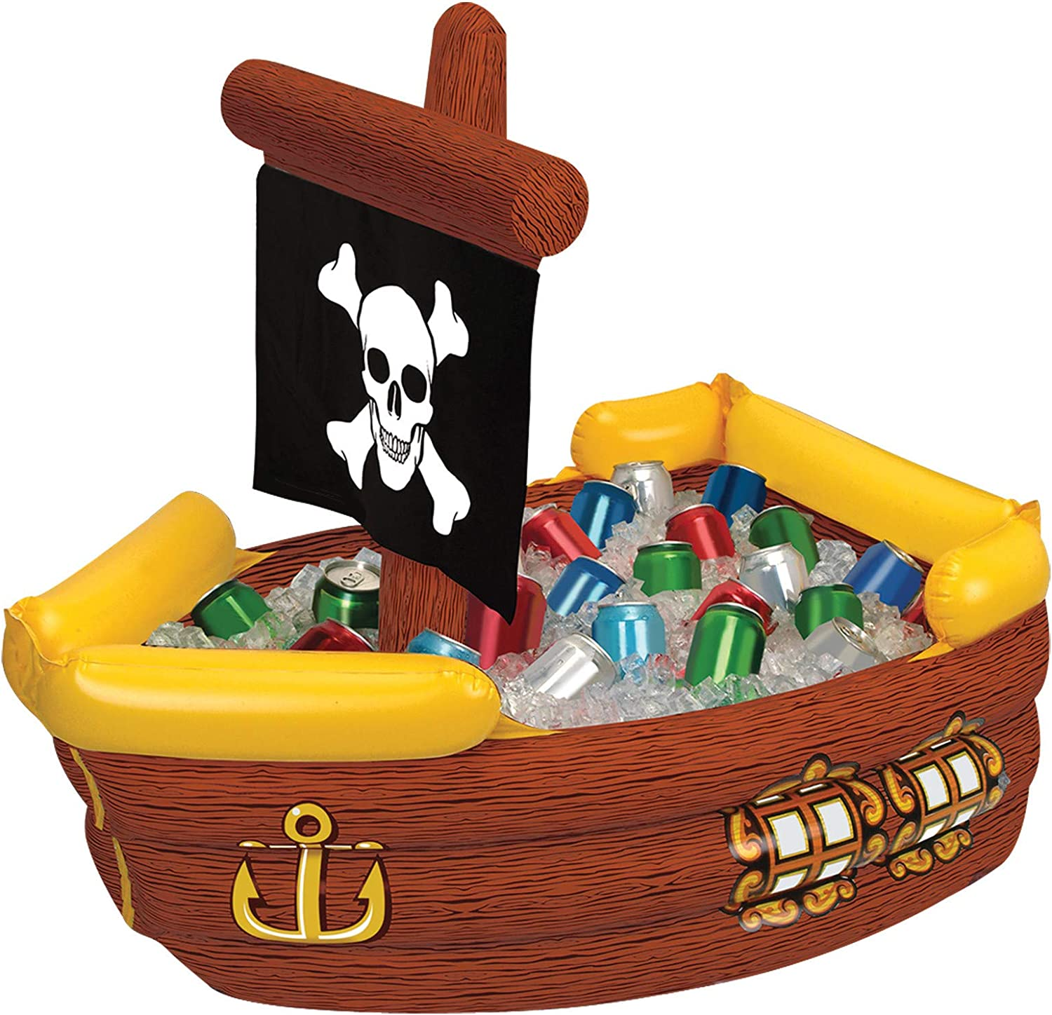 Inflatable Pirate Ship Cooler (holds apprx 72 12-Oz cans) Party Accessory(1 count) (1/Pkg)