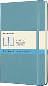 "Moleskine Classic Notebook, Hard Cover, Large (5"" x 8.25"") Dotted, Reef Blue, 240 Pages"