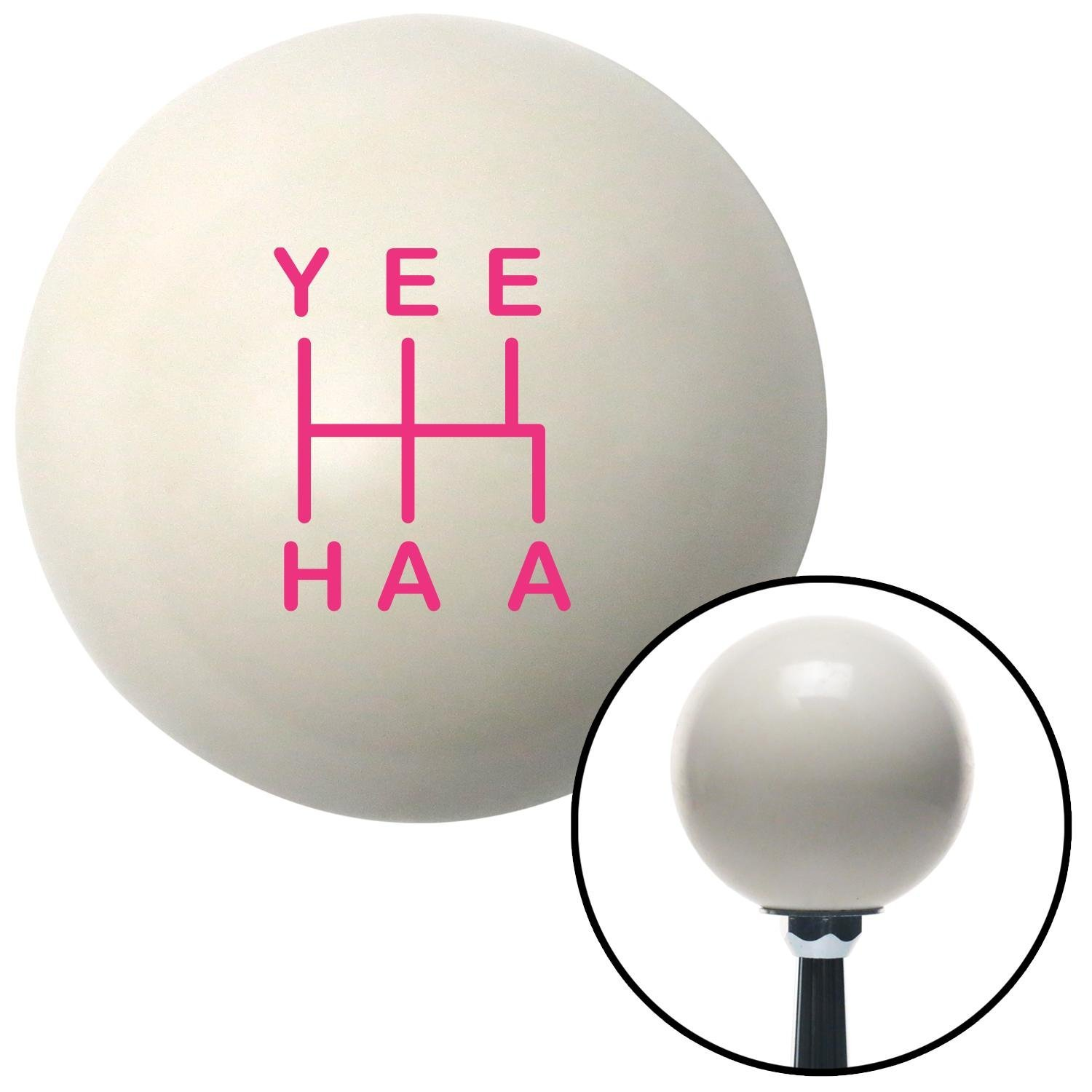 American Shifter 301304 Shift Knob Pink YeeHaa 5 Speed Ivory with M16 x 1.5 Insert