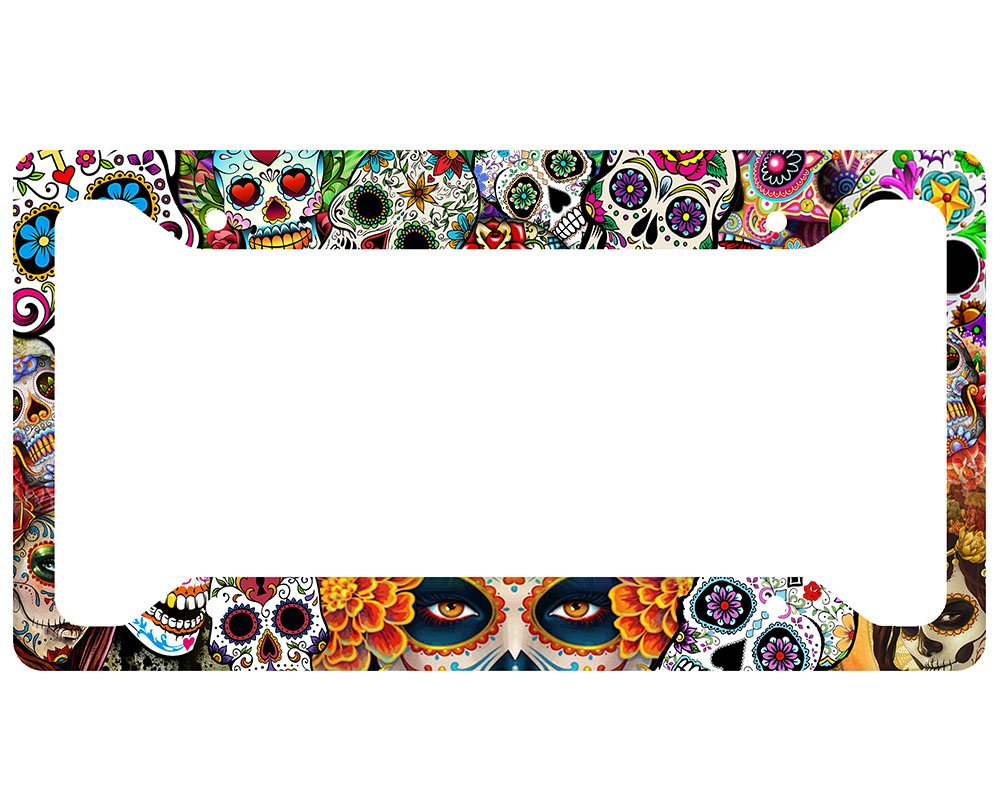 Amazon.com: Sugar Skull License Plate Frame: Automotive