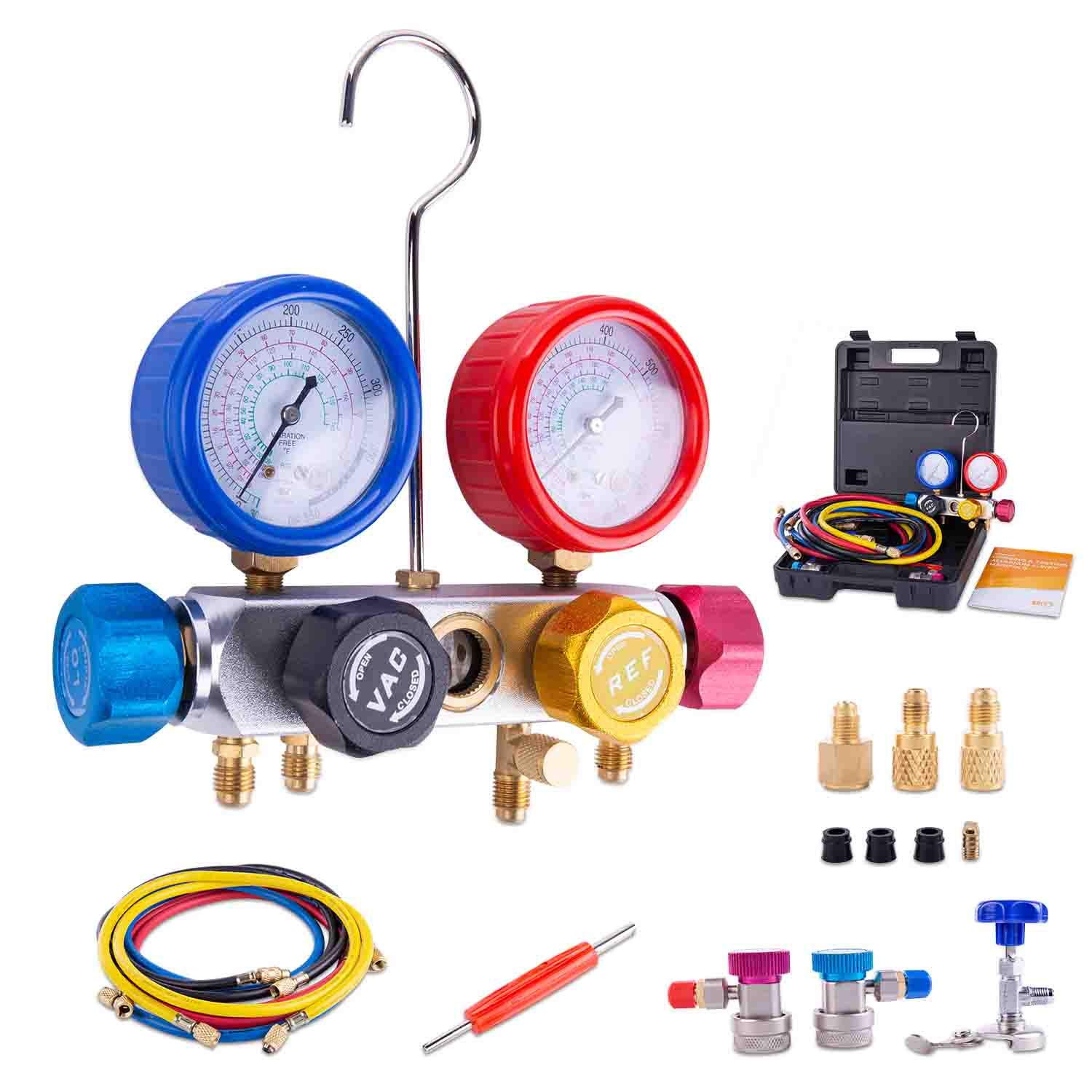 BACOENG Pro 4 Way AC Diagnostic Manifold Gauge Complete Set for R134A R410A R22, with 5FT Hose, 3 ACME Tank Adapters, Adjustable Quick Couplers and Universal Can Tap