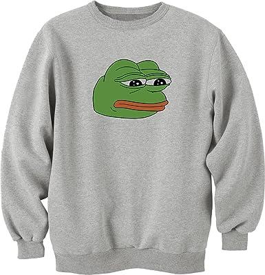 Pepe Sad Frog Funny Meme Sweatshirt Pullover Grau Amazonde Bekleidung