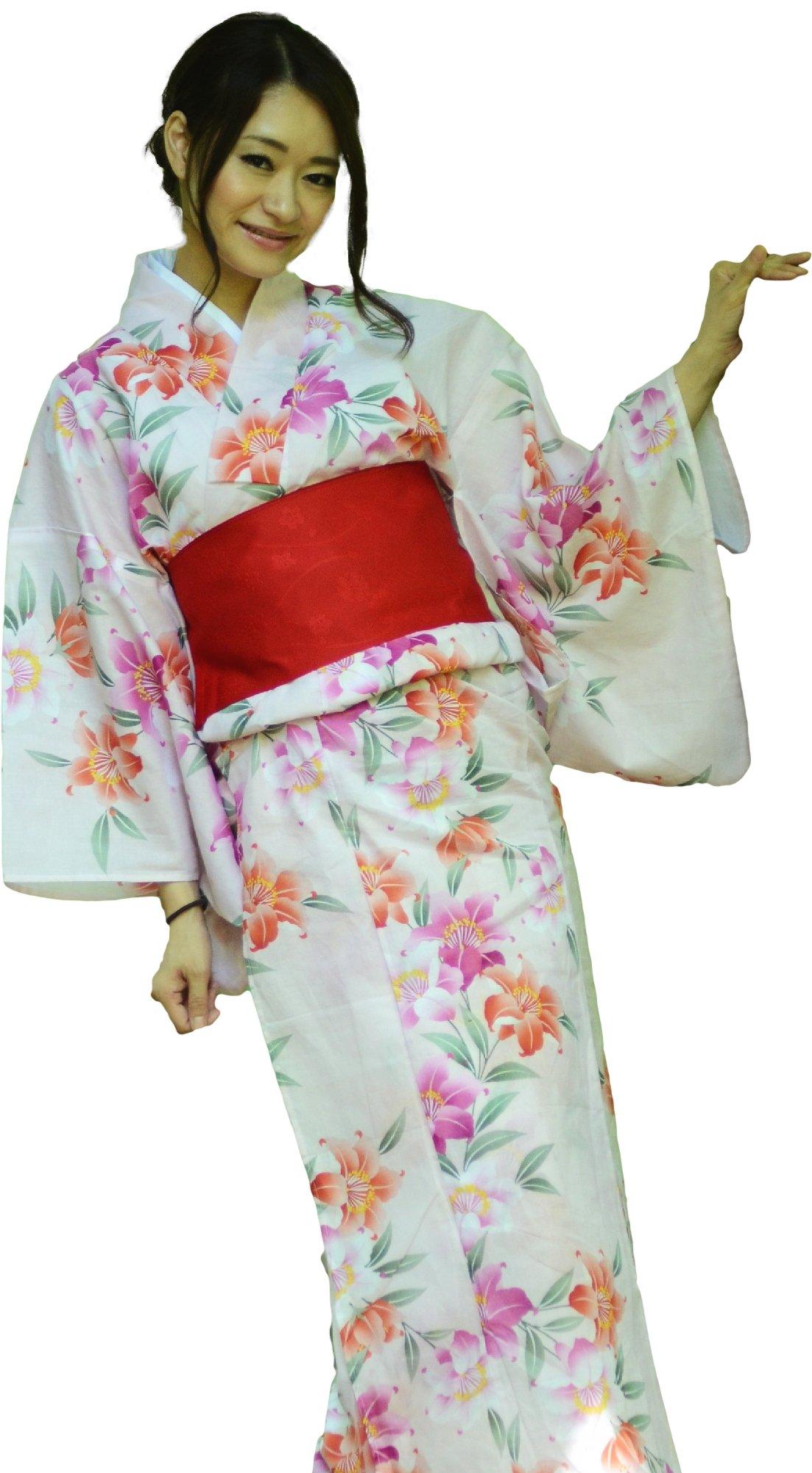 sakura Women Japanese Yukata Pre tied obi belt set with sandals / white pink and lily pattern