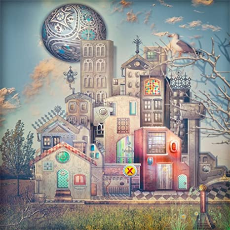 AOFOTO 6x6ft Fairytale Manor Background Fantasy Town Buildings Photography  Backdrop Vintage Palace Old Fashioned Village Castle Kid Girl Child