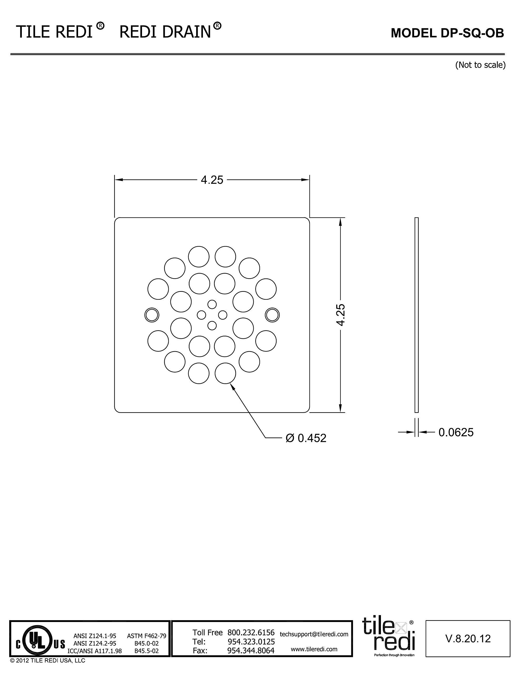 Tile Redi DP-SQ-OB Redi Drain Oil Rubbed Bronze Square Drain Plate, 4.25 Inches