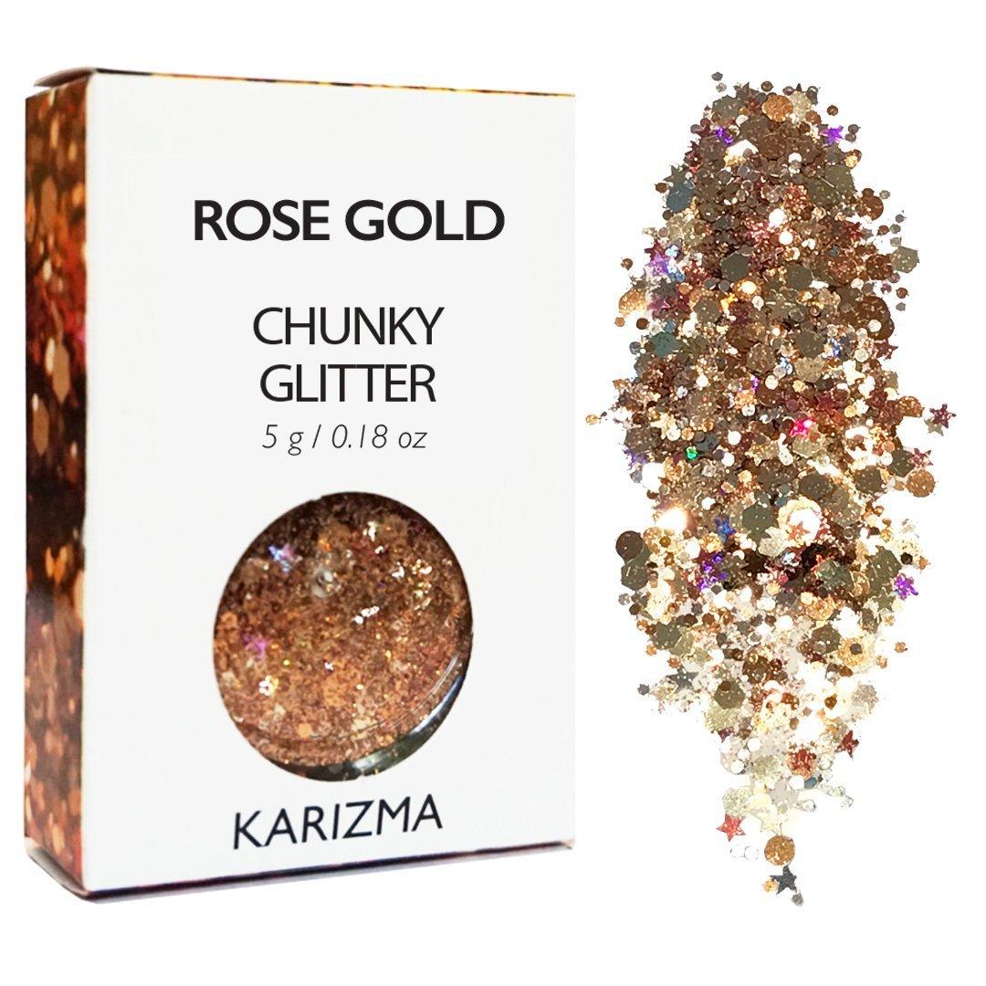 Rose Gold Chunky Glitter ✮ COSMETIC GLITTER KARIZMA ✮ Festival Beauty Makeup Face Body Hair Nails