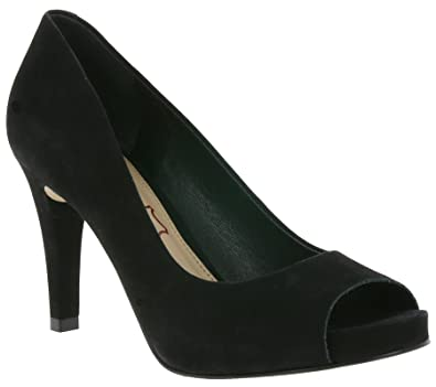 a6edcfe608514e Buffalo Damen High Heels Pumps Peeptoes Leder Nubuck Schwarz und Rot Peep  Toe 1159300 (41