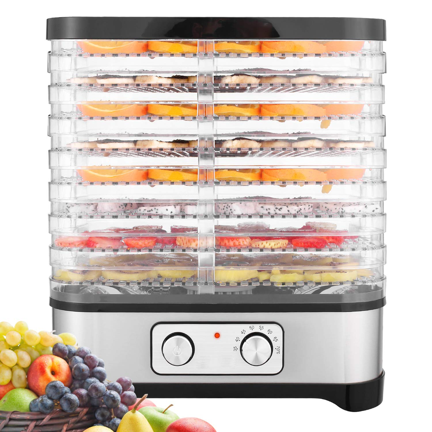8 Trays Electric Food Dehydrator Machine For Jerky, Fruits With Temperature Control (400 Watt)
