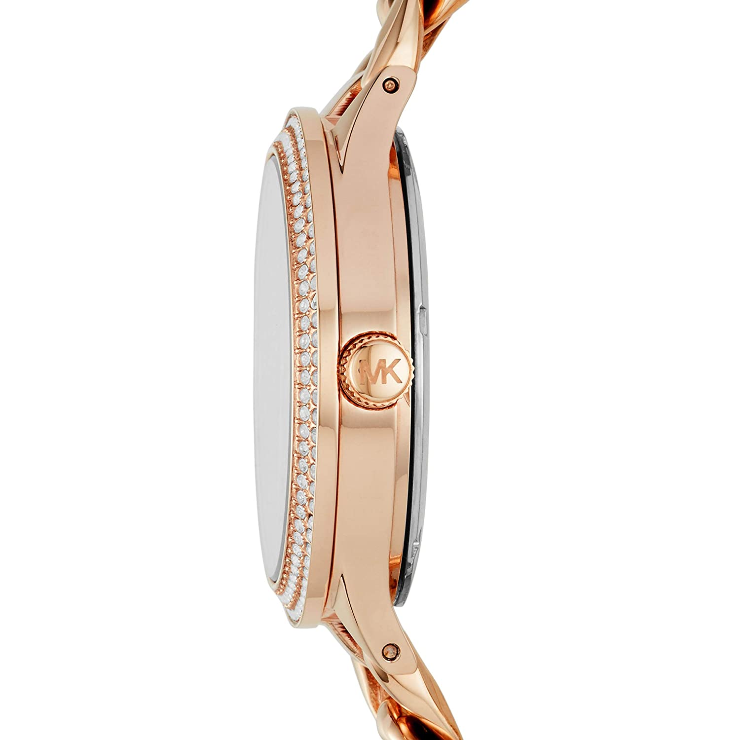 34d0f00542ae Amazon.com  Michael Kors Women s 38mm Rose Goldtone Pav  Slim Runway Chain  Link Watch  Watches