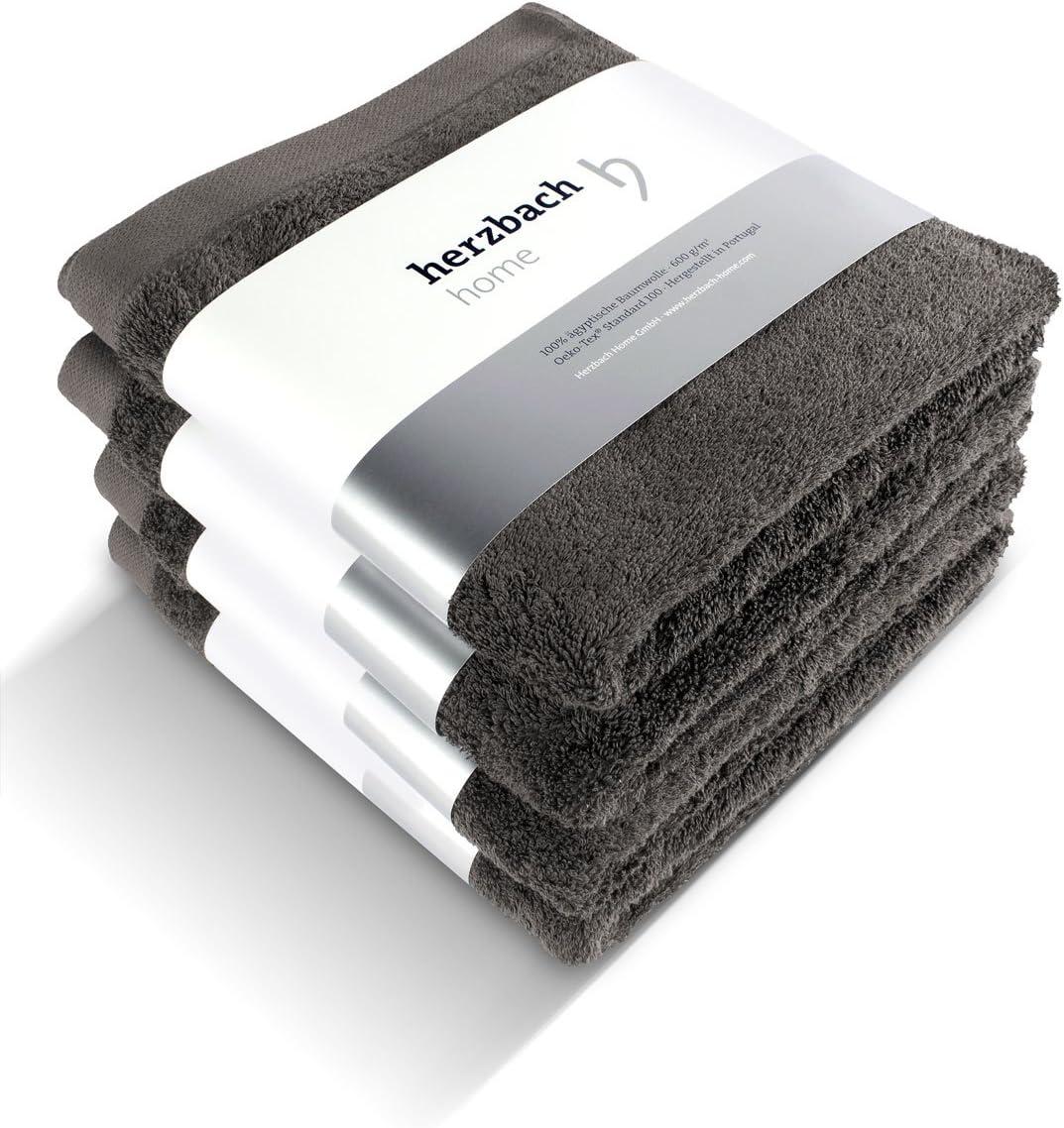Cotone bianco herzbach Home Set da 4 asciugamani Premium qualit/à in 100/% cotone 50 x 100 cm Extra Morbido 50 x 100 cm