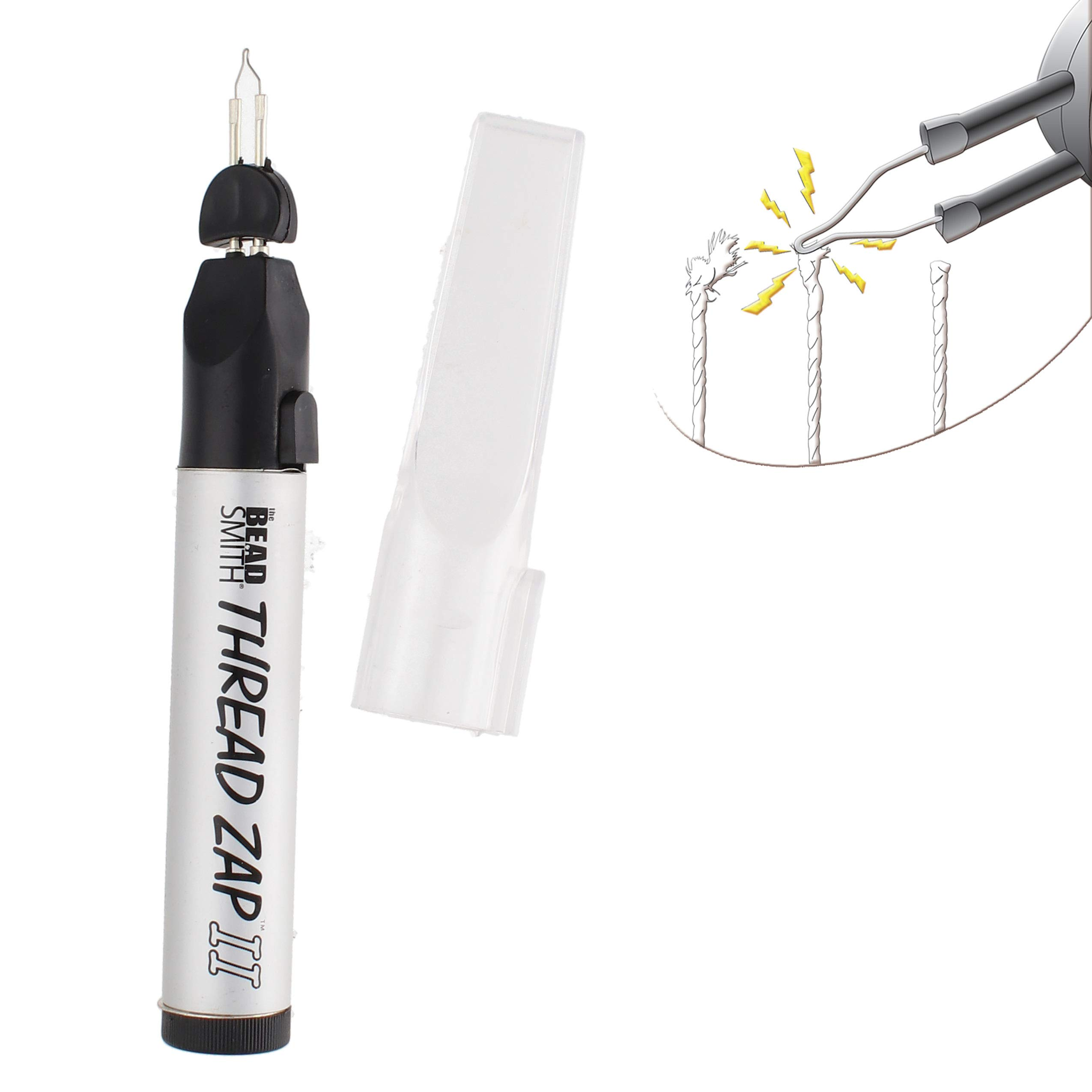 The Beadsmith Thread Zap II, Thread Burner, 5.25 inches, Push Button, Battery Operated (1xAA), Trim, Burn and Melt thread with one touch, Ideal for finishing bead weaving and stringing projects