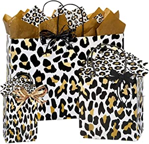 Leopard Gift Bags with Handles - Gift Bags with Matching Tissue Paper | Present Bag Boutique Gift Bag Ideas | All Included Matching Gift Wrap | Gift Bag Small Medium Large (Golden Leopard)