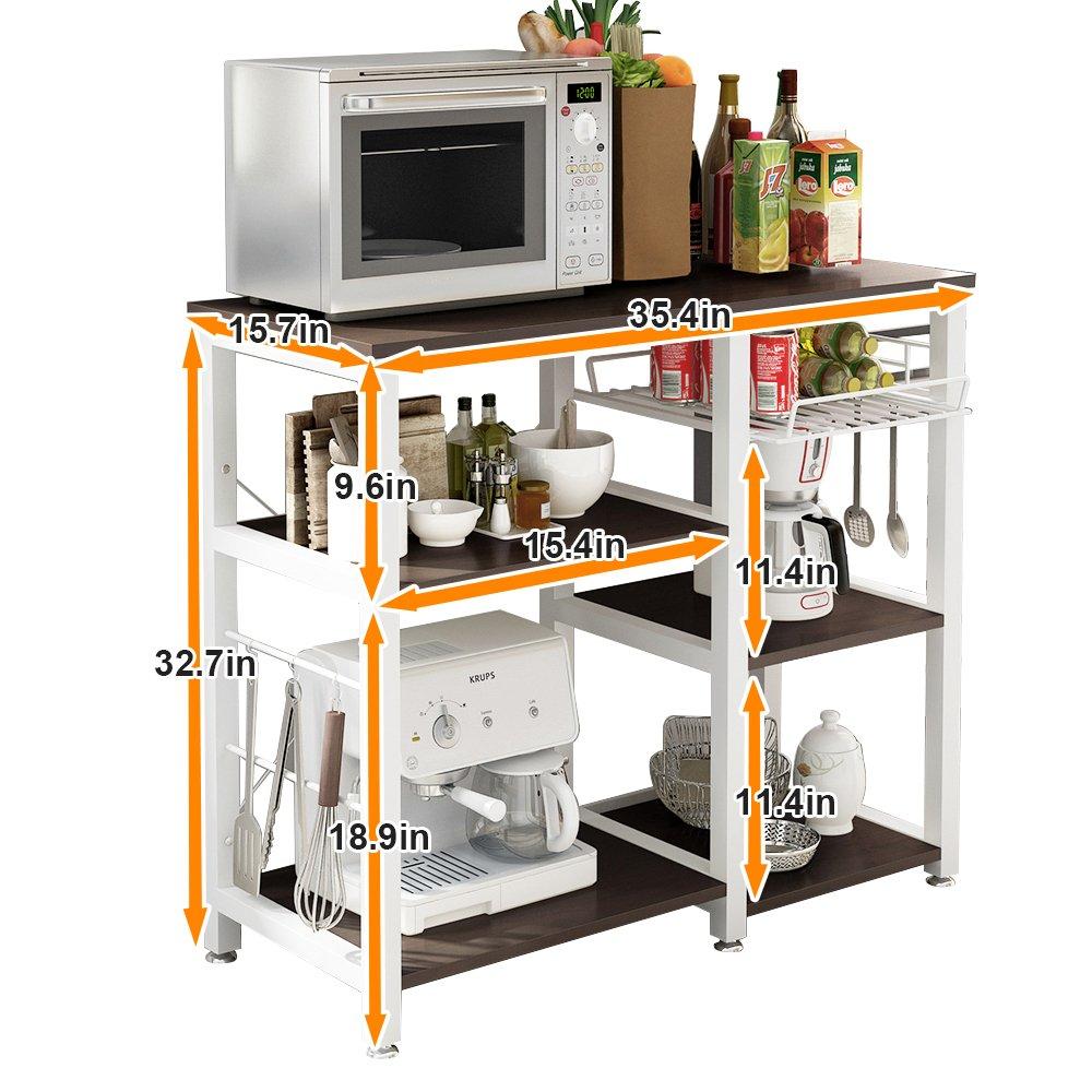 Mixcept Multi-purpose 3-tier Kitchen Baker's Rack Utility Microwave Oven Stand Storage Cart Workstation Shelf W5S-BK-MI (Black) by Mixcept (Image #4)