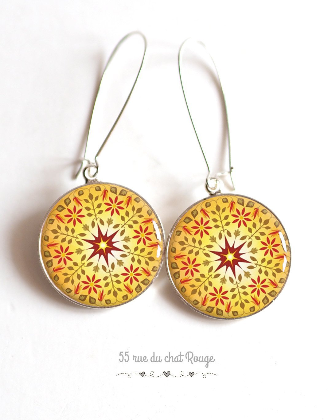 Mantra Sun Juwel Mandala Jane Weihnachtsgeschenkidee Zen Cabochon Ohrringe ethnische Juwel