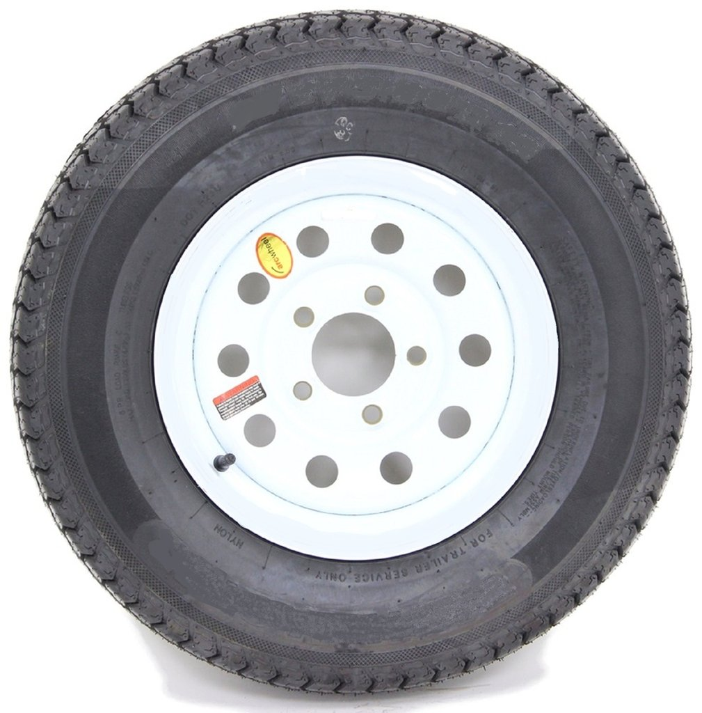2-Pack Trailer Tire On White Mod Rim ST225/75D15 Load D (5 Lug On 4.5'') 15 x 6