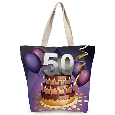 IPrint Funky Canvas Tote Bag50th Birthday DecorationsCreamy Cake With Many Candles And