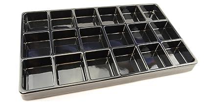 5 x Negro dieciocho compartimiento Heavy-duty plástico Bandejas apilables luz peso