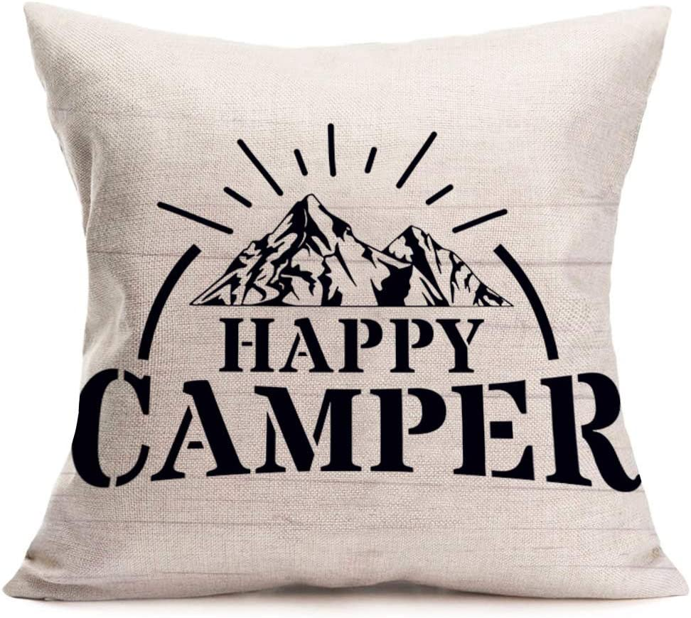 "Fukeen Happy Camper Inspirational Quotes Cotton Linen Pillow Cases Outdoor Camping Warm Letters for New Home Office Decor Pillowcase 18""x18"""