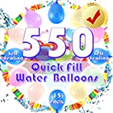 GoExquis 550PCS Quick Fill Self Sealing Water Balloons(15 Packs)Biodegradable Quick Fill Water Balloons in Seconds for Summer