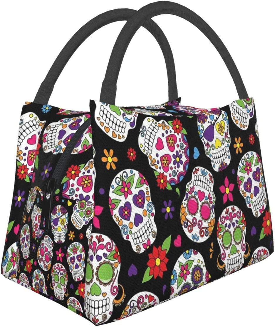 Lunch Bag Insulated Tote Day Of The Dead Sugar Skull Thermal Cooler Box Leakproof Collapsible Reusable Shopping Grocery Bags For School Office Picnic Travel