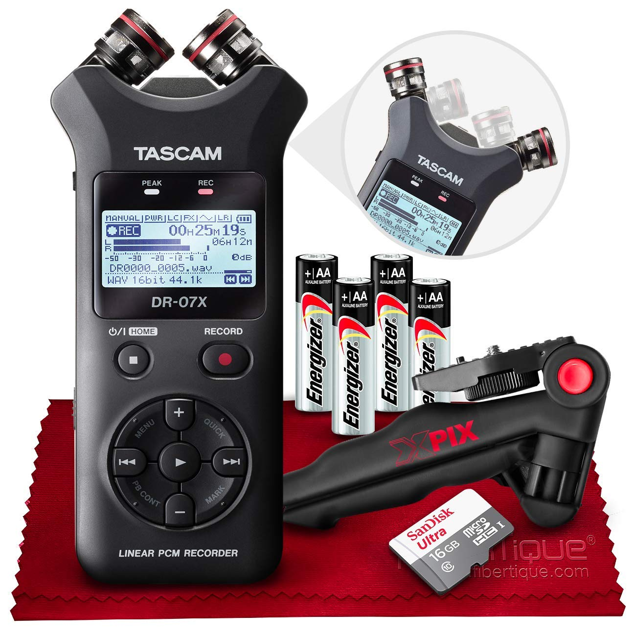 Tascam DR-07X Stereo Handheld Digital Audio Recorder with USB Audio Interface + 32GB + Table Tripod + Accessories Bundle