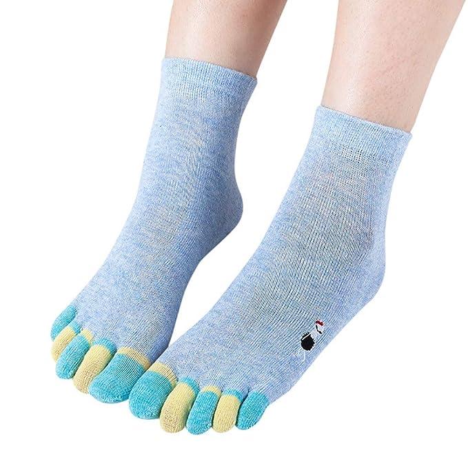 Lazzboy Los Calcetines Multicolores del Dedo del Pie del Gato Calcetines de Cinco Dedos más Cálidos