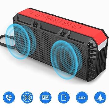 Altavoz Estéreo Bluetooth Portátil de 16W, Altavoz Inalámbrico Bass Potente con Micrófono, Impermeable IPX6 Multi Función de FM Radio, Garantía de 24 meses ...