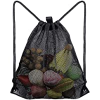 Heavy Duty Mesh Drawstring Bag, Light Weight Backpack, Toy Storage Bag, Sport Equipment Storage Bag for Beach, Swimming.