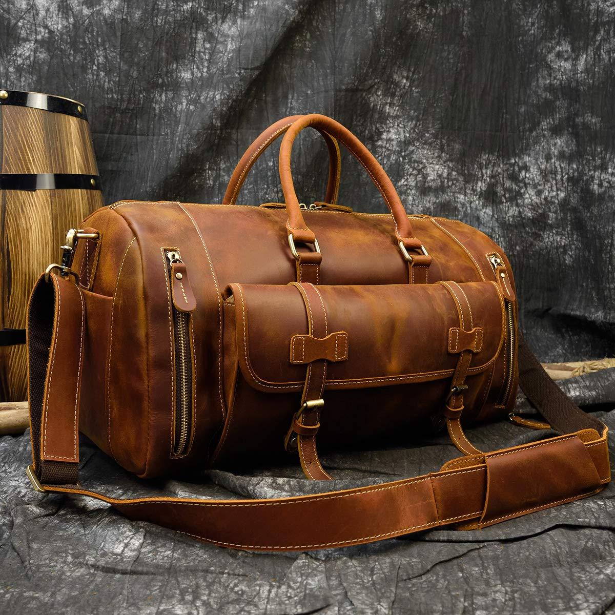 Dark Brown-52cm LUUFAN Bolso De Viaje Nocturno De Cuero Genuino para Hombres Bolso de Lona Bolsa de Fin de Semana Vintage de Alta Capacidad
