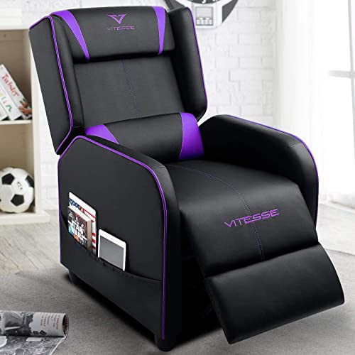 VIT Gaming Recliner Chair Racing Style Single PU Leather Sofa Modern Living Room Recliners Ergonomic Comfortable Home Theater Seating Purple