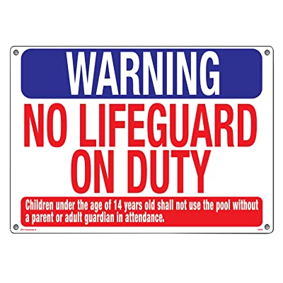 Poolmaster Sign for Residential or Commercial Swimming Pools, Warning No Lifeguard : Swimming Pool Signage : Garden & Outdoor