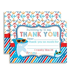 """Shark in Sunglasses Birthday Thank You Notes for Kids, Ten 4"""" x 5.5"""" Fill In the Blank Cards with 10 White Envelopes by AmandaCreation"""
