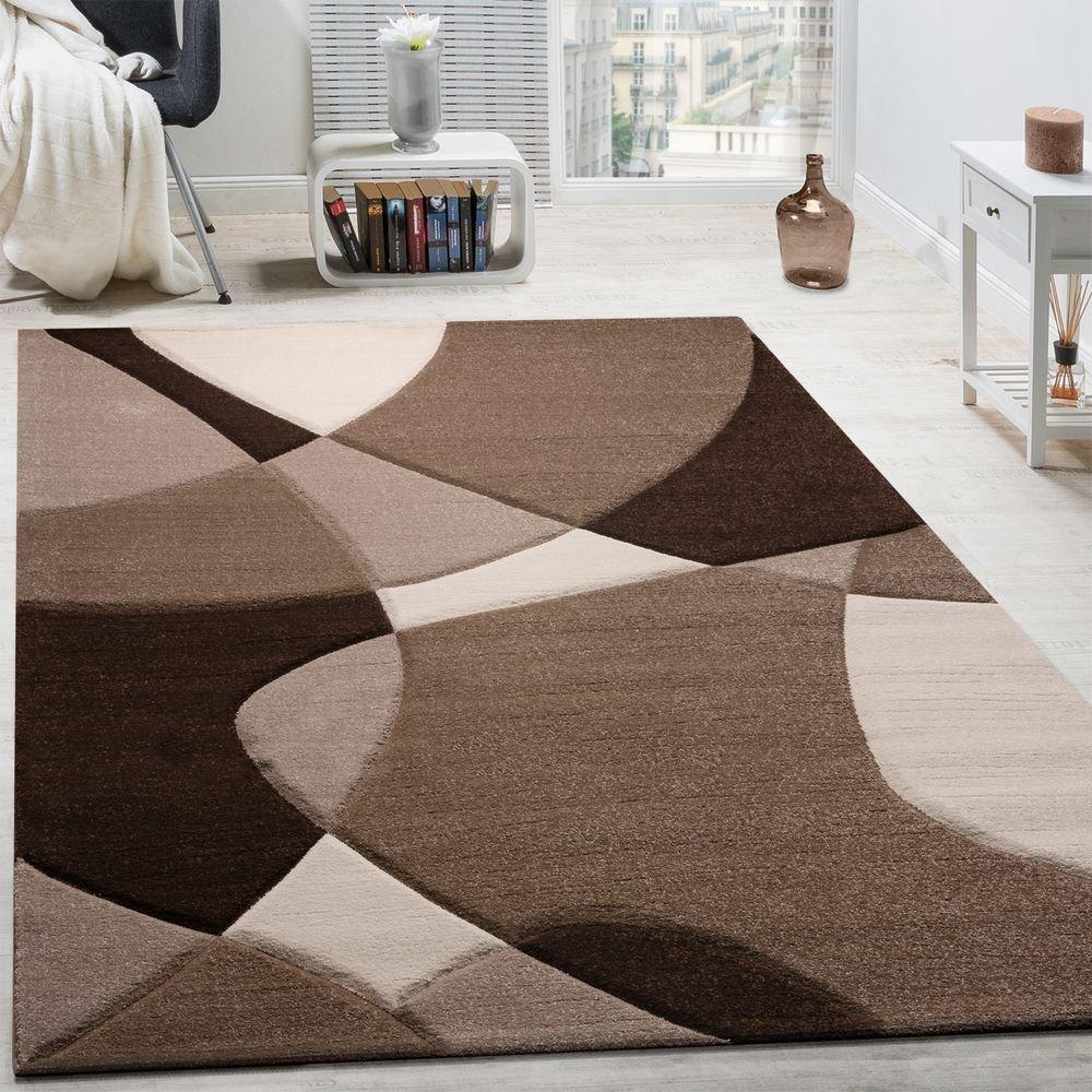 Paco Home Designer Teppich Modern Geometrische Muster Konturenschnitt In Braun Creme Beige, Grösse 240x330 cm