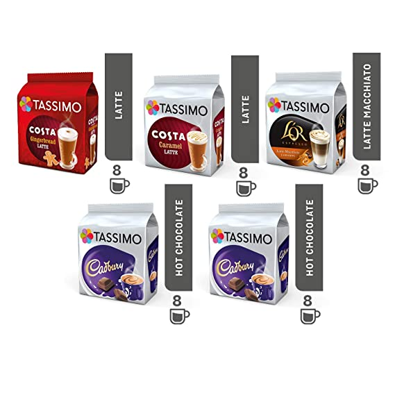 Tassimo Coffeechoco Bundle Costa Gingerbread Lattecaramel Latte Cadbury Hot Choco Lor Latte Macchiato Caramel Pods Pack Of 5 40 Servings