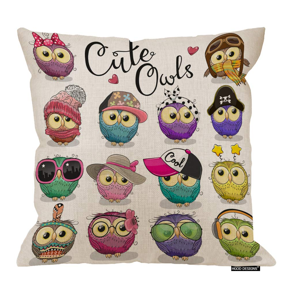 HGOD DESIGNS Owls Pillow Cover,Cartoon Cute Owls with Hat Earphone Sticker Cotton Linen Cushion Covers Home Decorative Throw Pillowcases 18x18inch
