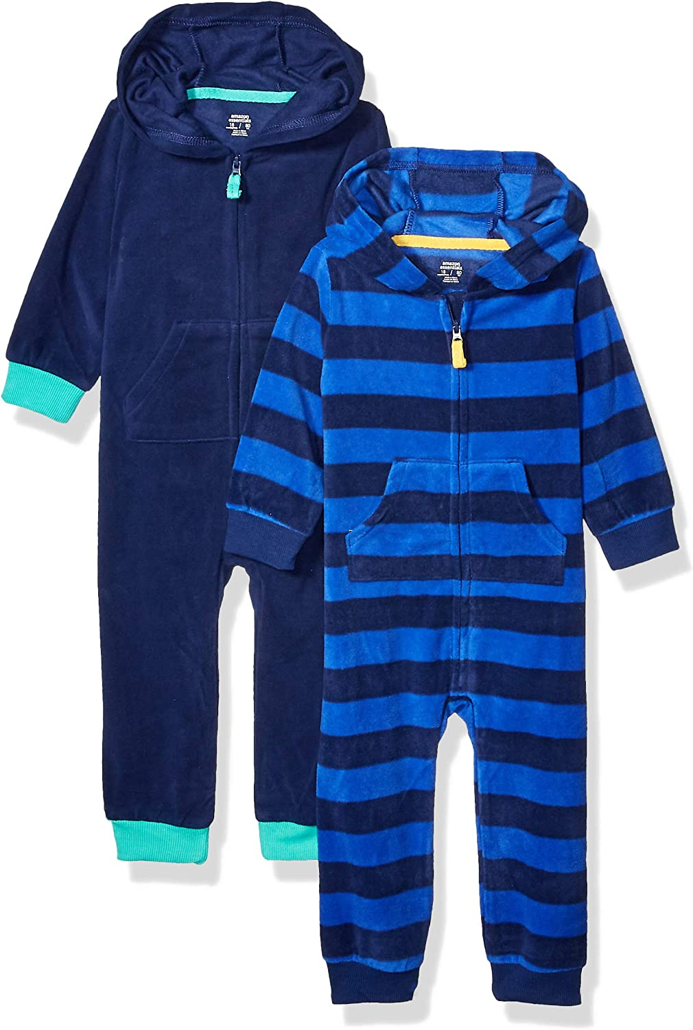 Amazon Essentials Boy's Toddler 2-Pack Microfleece Hooded Coverall