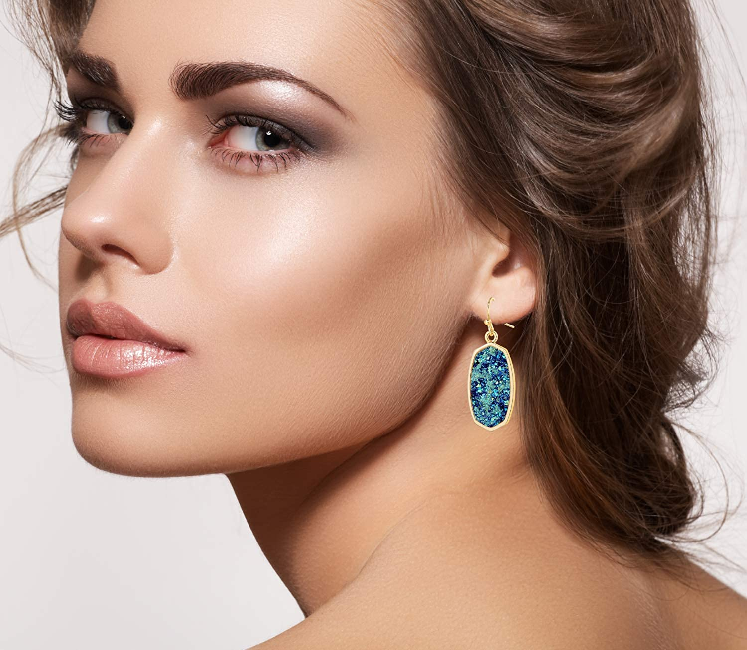 Statement Oval Simulated Druzy Crystal Stone Gold Tone Drop Dangle Earrings for Women and Girls