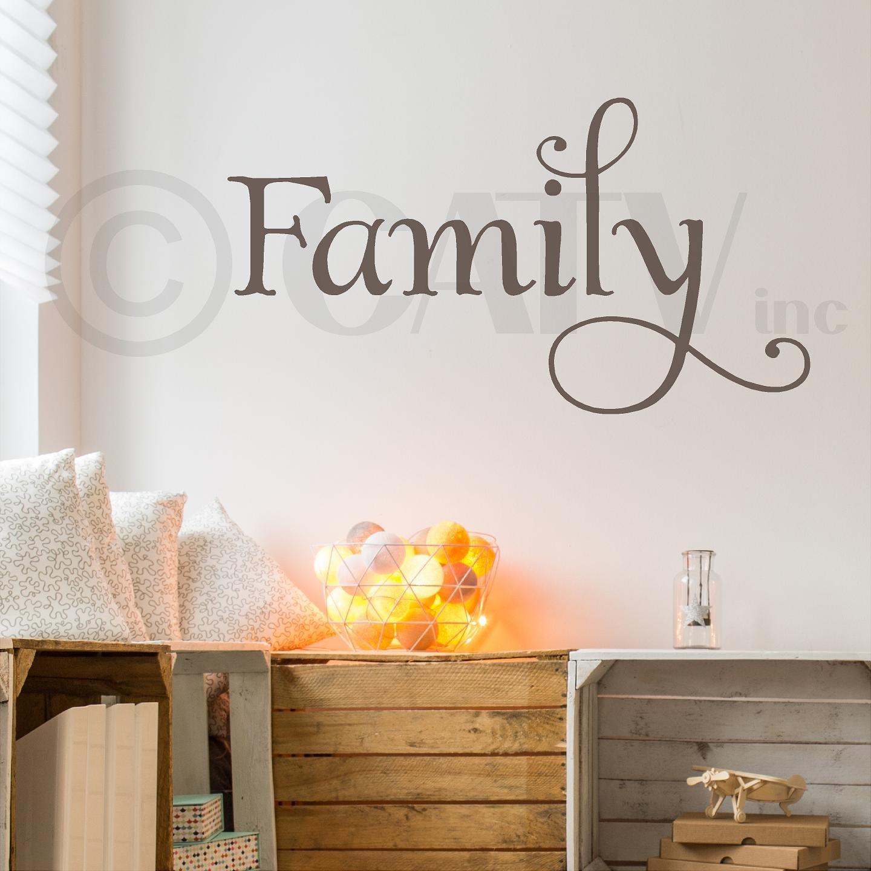 Family Vinyl Lettering Wall Decal Sticker (21''H x 38''L, Metallic Bronze)