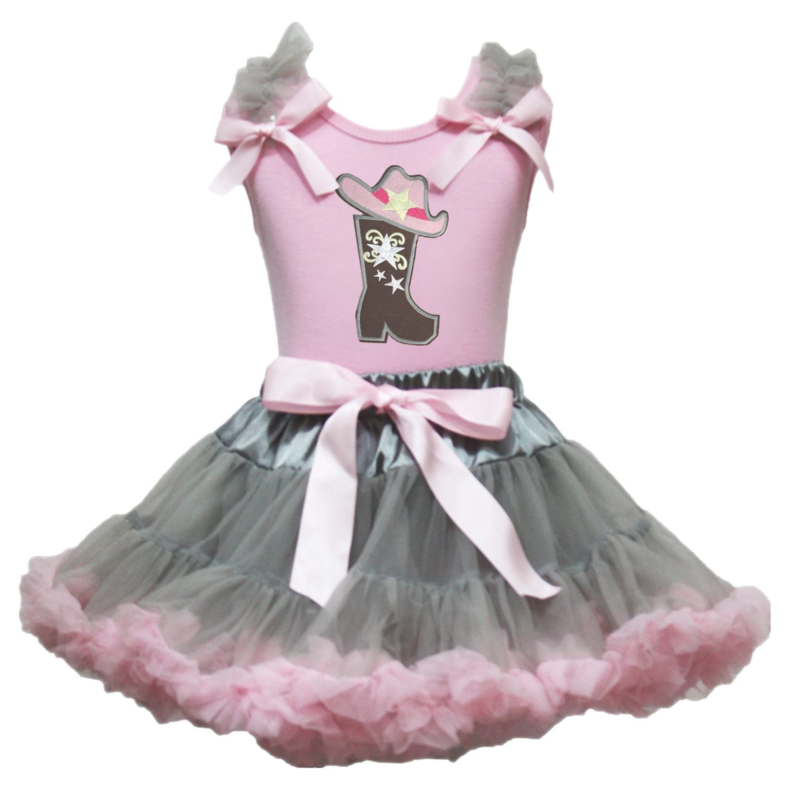 Petitebella Cowgirl Dress Boot and Hat Pink Shirt Grey Pink Skirt Outfit 1-8y (4-5 Years)