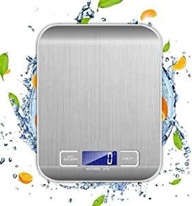Food Scales for Kitchen Cooking, Digital Kichen Scale for Baking, High Precision Food Scales Weight Grams and Ounces, Clear LED Display, Waterproof and Staninless Steel Surface Easy to Clean