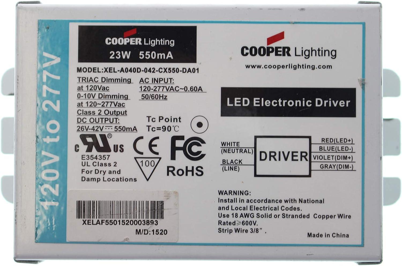 Cooper Xel A040d 042 Cx550 Da01 Dimming Led Driver 0 10v 26 42 Vdc 550ma 23w 120 277v Amazon Co Uk Diy Tools