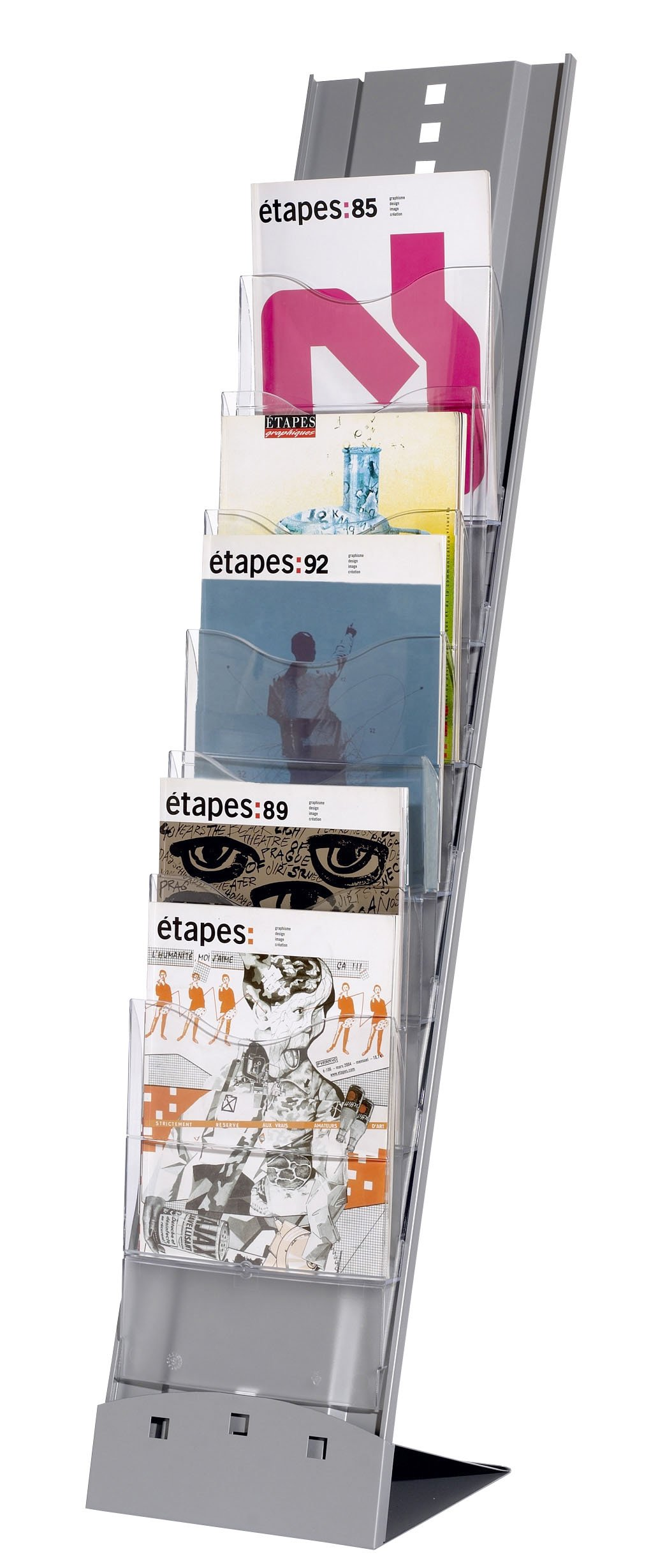 Paperflow Portable 7-Compartment Floor Literature Display Rack, 45.29 x 9.83 x 14.17 Inches, Silver (2857.35)