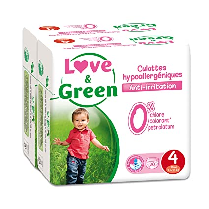 Love & Green - Paquete de 20 pañales hipoalergénicos (talla 4, lote de 2