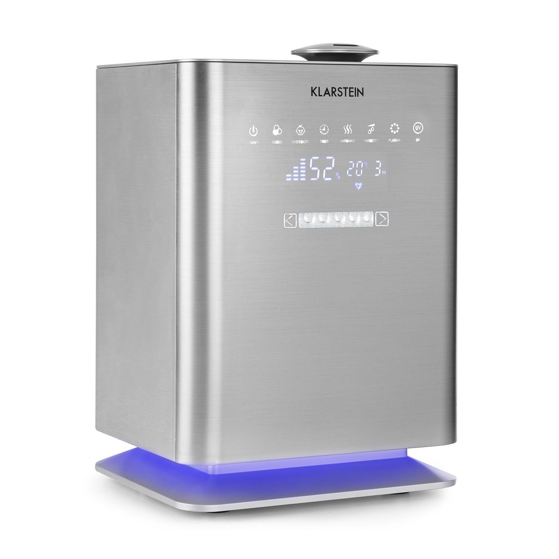 Klarstein Cubix • Humidificador de aire • Vaporizador de aire • Ionizador • Deposito de agua de 5, 5 litros • Seguro para niños • Mando a distancia • Rendimiento de hasta 350 ml/h • Silencioso • Plateado XJ3-Cubix-SL
