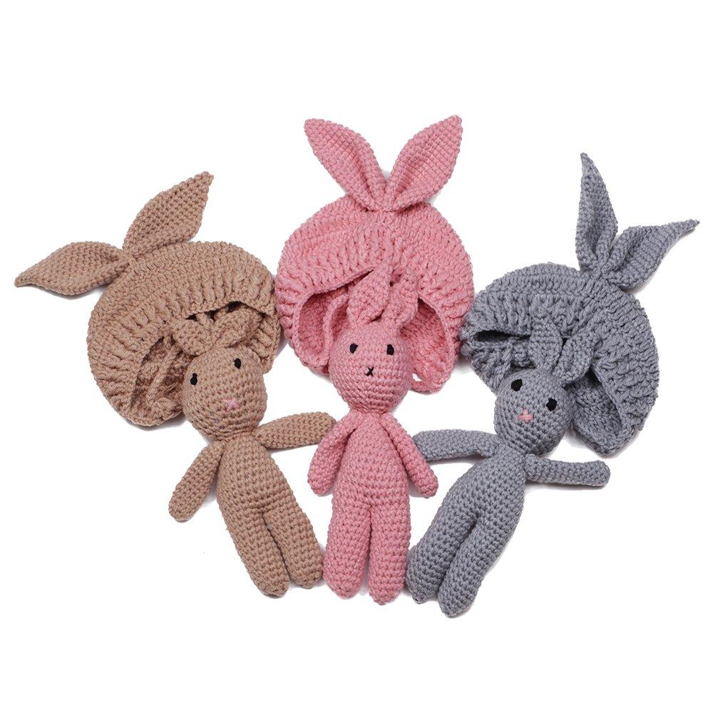 EUDORA Crochet Newborn Photography Boys/Girls Knit Toy Rabbit Hats, Infant Baby Photo Prop Costume Pink