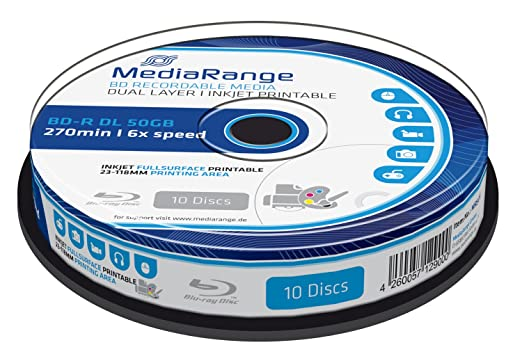 72 opinioni per 10 BLU-RAY- Mediarange BD-R DL 50 Gb, velocità 6x, stampabile full printable