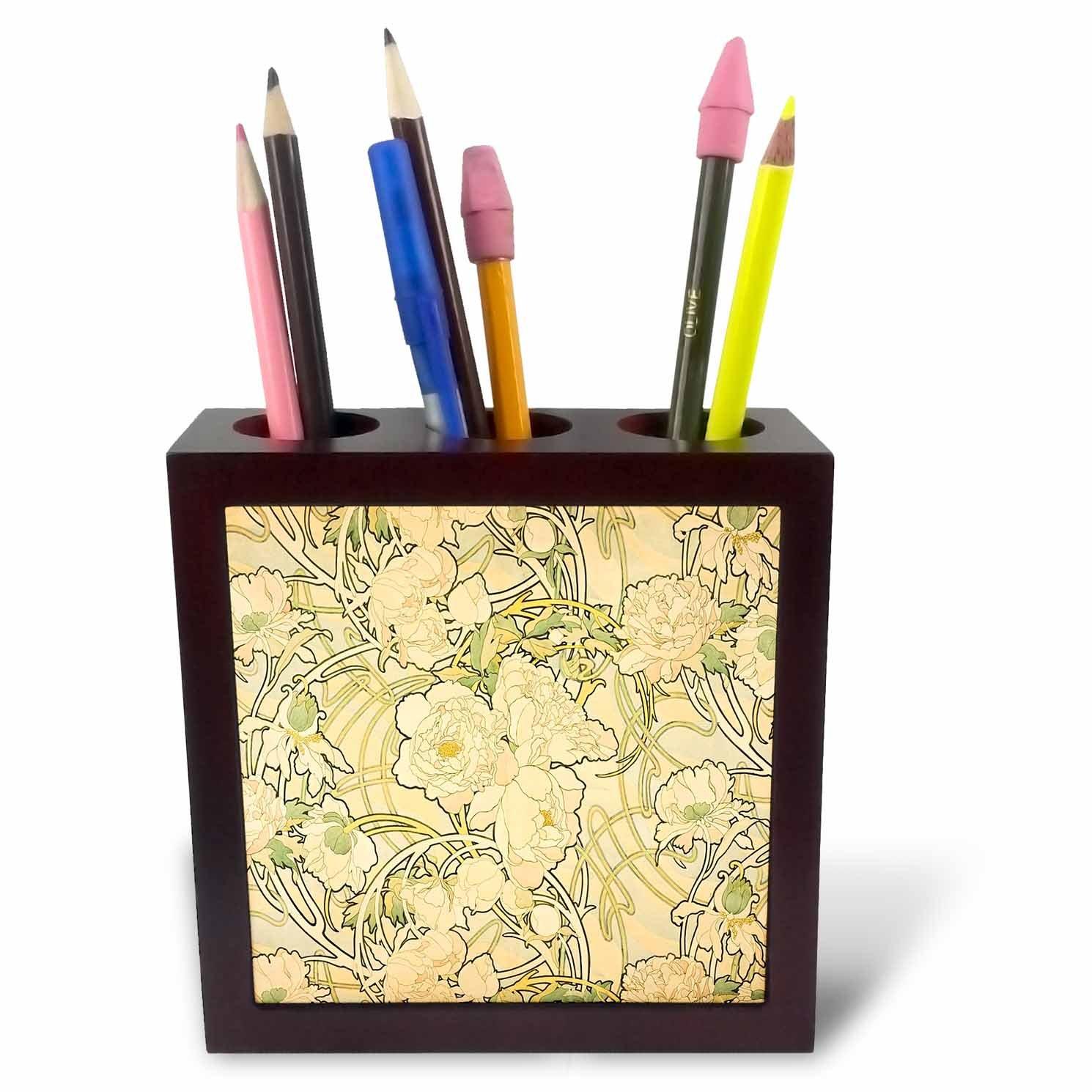 3dRose ph_245043_1 - Soporte para (5 bolígrafo de azulejos (5 para pulgadas, diseño de Alphonse Múltiples Peonías) 4042b5