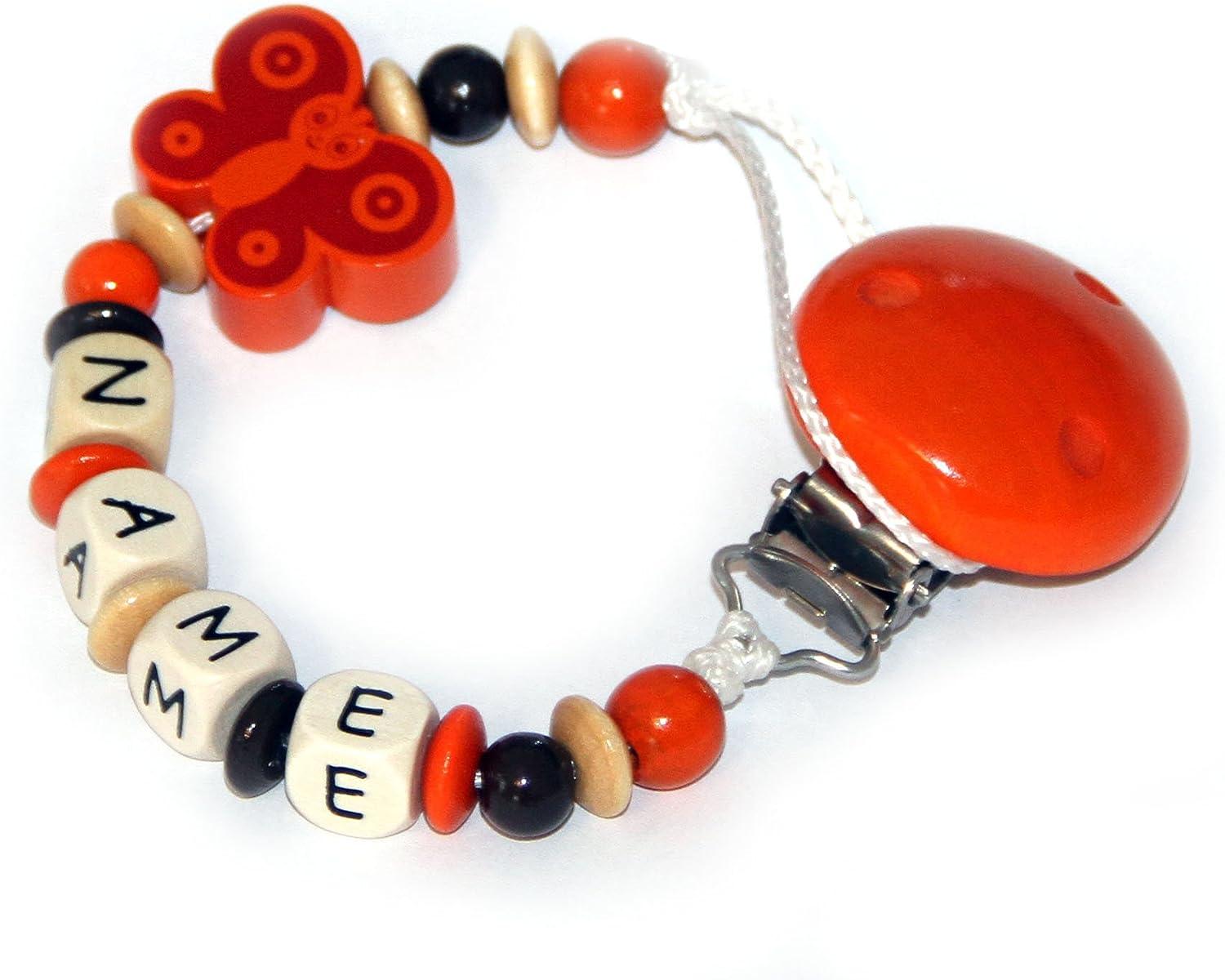 /Italy hasta 10/letras Aurora Baby Chupete con cadena de perlas de madera y nombre personalizado Italia/