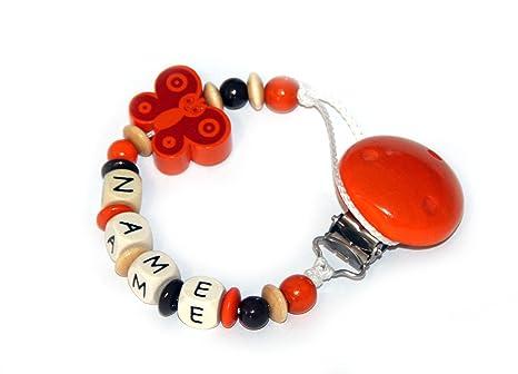 Baby Chupete con cadena de perlas de madera y nombre personalizado ...